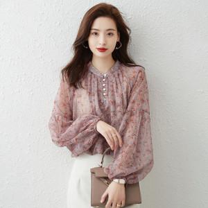 YF71238# 气质灯笼袖雪纺衬衫女早秋新款宽松短款长袖洋气小衫