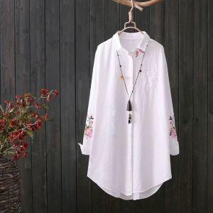 YF71231# 大码刺绣衬衣...