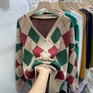 YF76353# 格子针织开衫新款秋季V领上衣女韩版设计感小众宽松外套潮 服装批发女装直播货源