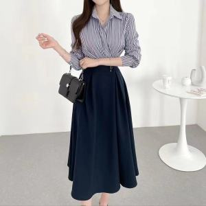 YF75053# 韩国chic条纹撞色拼接假两件一粒扣收腰长袖连衣裙 服装批发女装直播货源