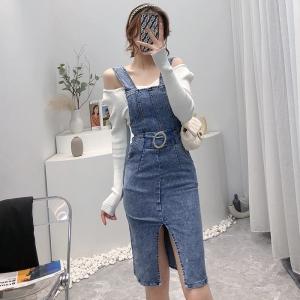 YF75966# 港风两件套装新款女长袖针织打底衫修身开叉牛仔背带连衣裙 服装批发女装直播货源