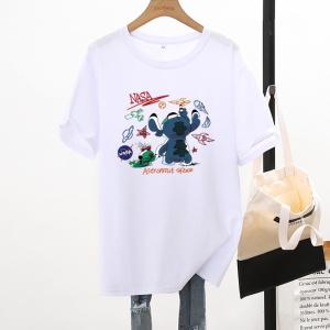 CX7065# 最便宜服服装批发 新款纯棉夏季圆领短袖男女T恤卡通宽松大版上衣情侣装