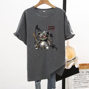 CX7064# 最便宜服服装批发 新款纯棉夏季圆领短袖男女T恤卡通宽松大版上衣情侣装