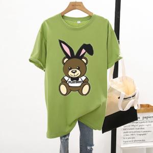 CX7061# 最便宜服服装批发 新款纯棉夏季圆领短袖男女T恤卡通宽松大版上衣情侣装