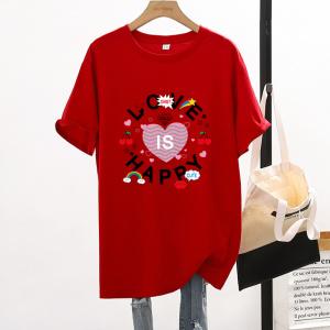 CX7057# 最便宜服服装批发 新款纯棉夏季圆领短袖男女T恤卡通宽松大版上衣情侣装