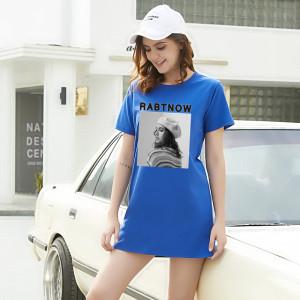 CX7044# 最便宜服服装批发 夏季新款女装中长款宽松潮短袖T恤八色百搭情侣学生