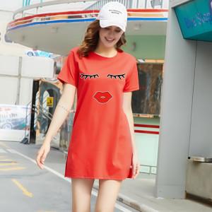 CX7043# 最便宜服服装批发 夏季新款女装中长款宽松潮短袖T恤八色百搭情侣学生