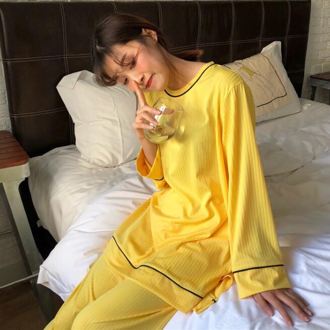 实拍实价 韩版阔腿裤睡衣女夏季宽松纯色条纹长袖家居服套装