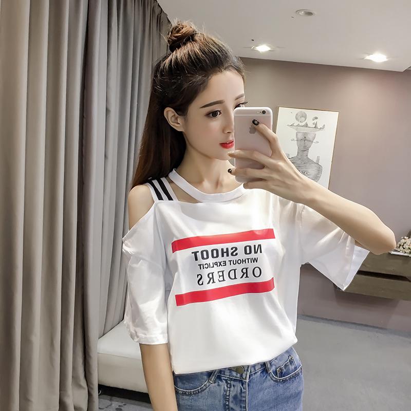 实拍 t恤女夏装2018新款韩版不规则露肩短袖小心机上衣设计感团