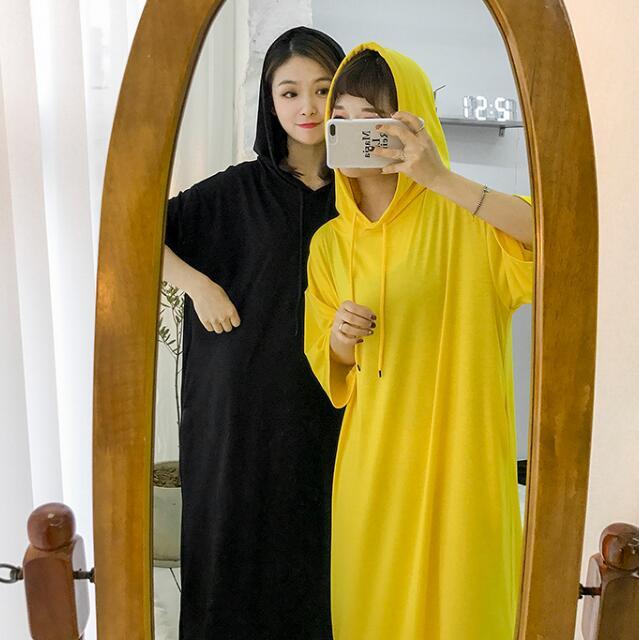 实拍实价 已检测休闲连帽宽松超长款连衣裙慵懒可外穿家居服