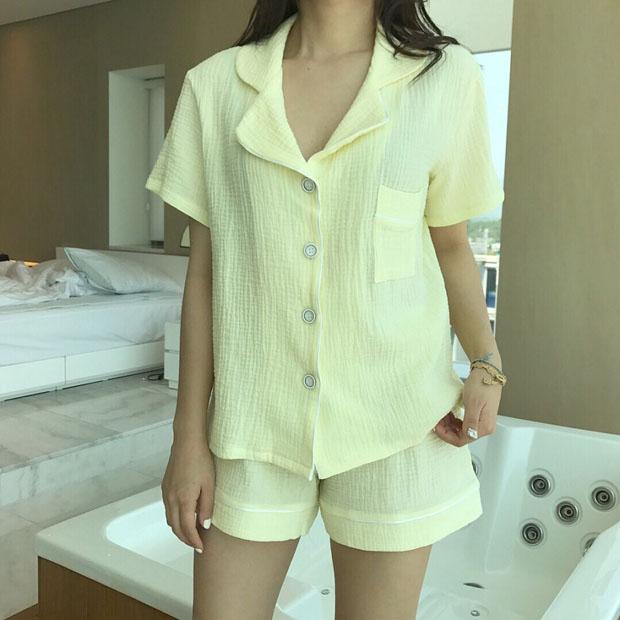 韓國新品 小清新舒適純色短袖短褲家居服套裝