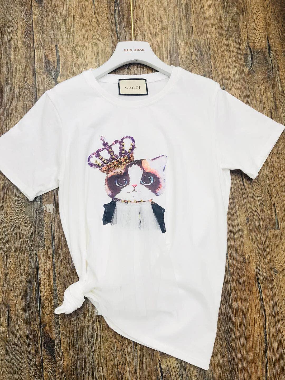 明星同款印花网纱拼接钉珠大码宽松休闲女纯棉T恤欧美时尚T恤