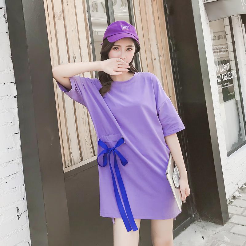 实拍 夏季新款时尚绑带后背印花中长款紫色连衣裙T恤半袖圆领上衣