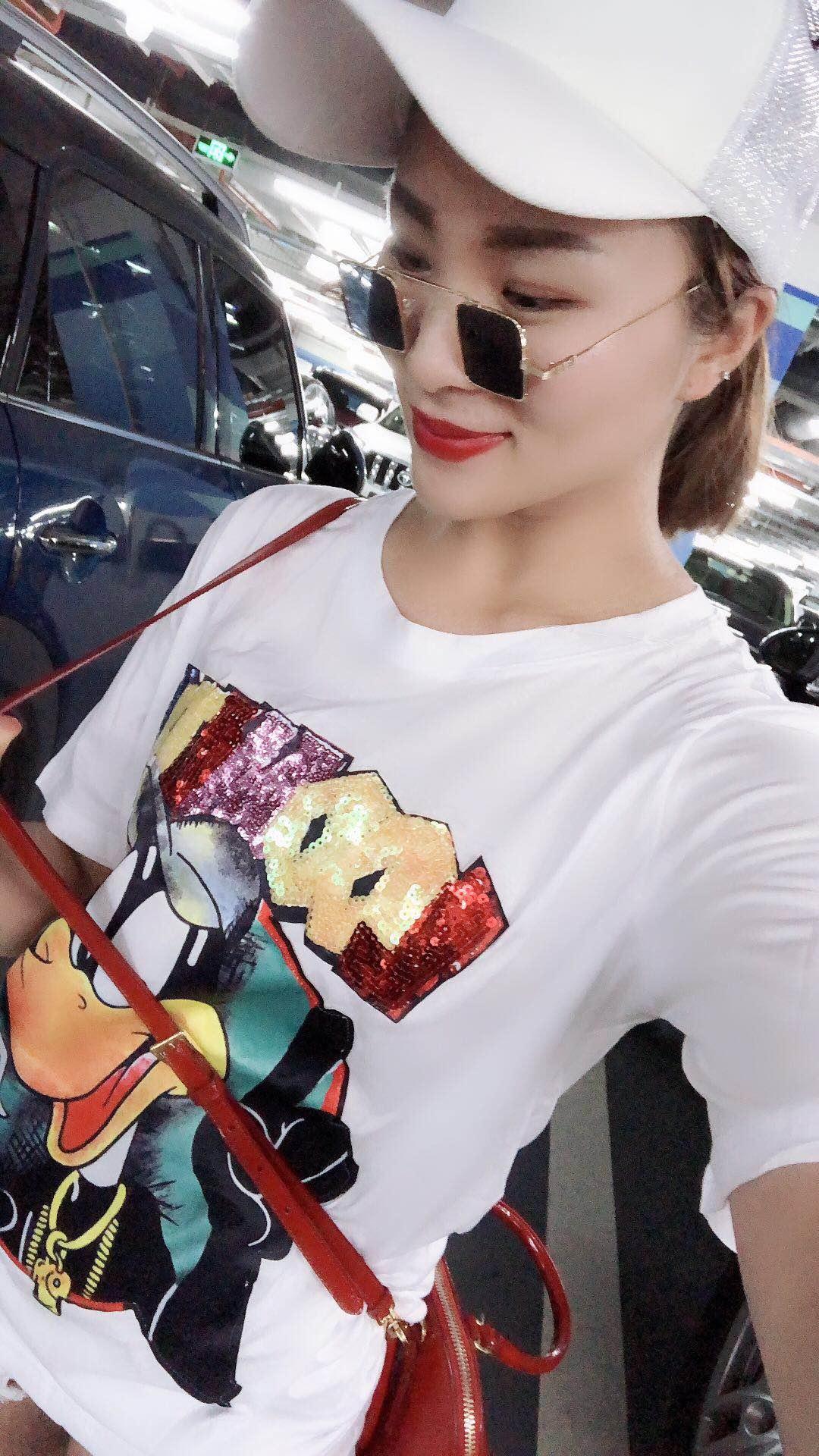 明星同款印花刺绣K通韩版大码女纯棉T恤欧美时尚T恤