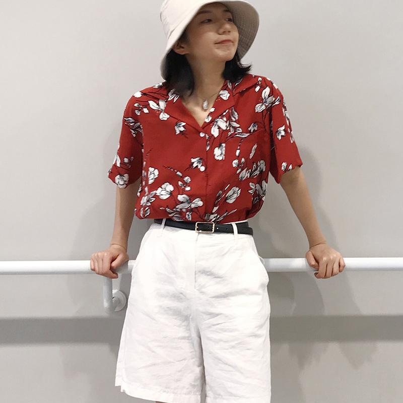實拍短袖復古紅色印花寬松襯衣2018夏季新款韓范顯瘦v領雪紡襯衫