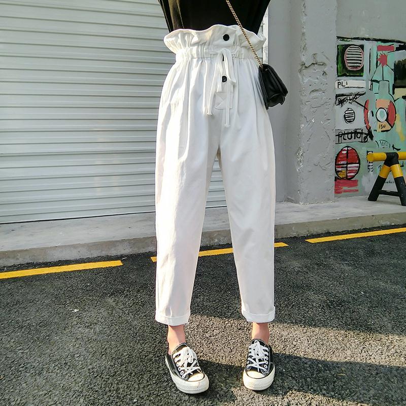 花苞裤女高腰2018夏季新款白色哈伦长裤宽松休闲薄款九分裤小脚裤
