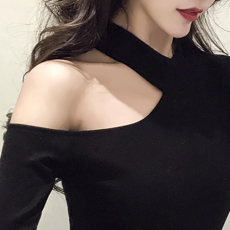 2019早春新款女装性感香肩上衣韩版心机设计感小衫长袖t恤镂空潮