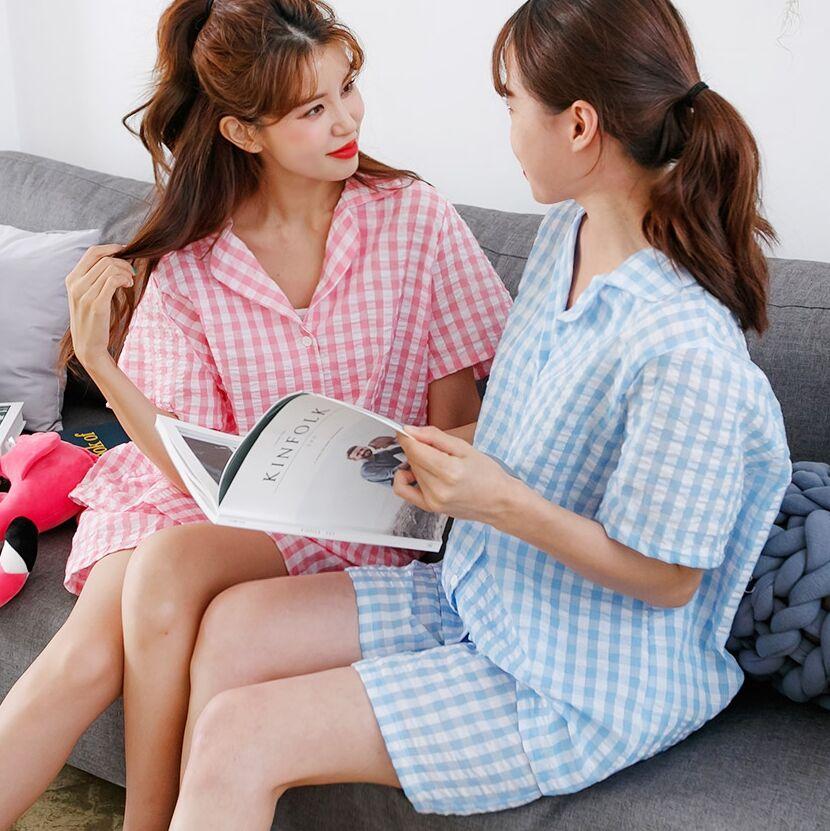 2色~韓國新品 清新可愛格紋短袖上衣+短褲睡衣套裝