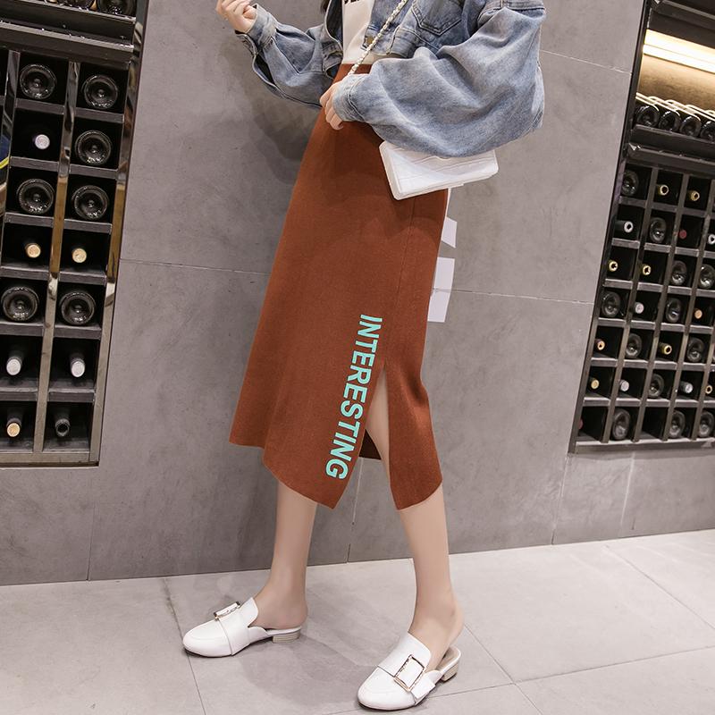 2018秋冬新款針織半身裙女韓版高腰A字毛線裙中長款包臀長款開叉
