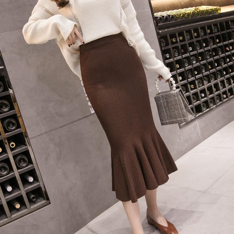 2018新款针织半身裙女秋冬包臀鱼尾裙中长款高腰A字百搭毛线长裙