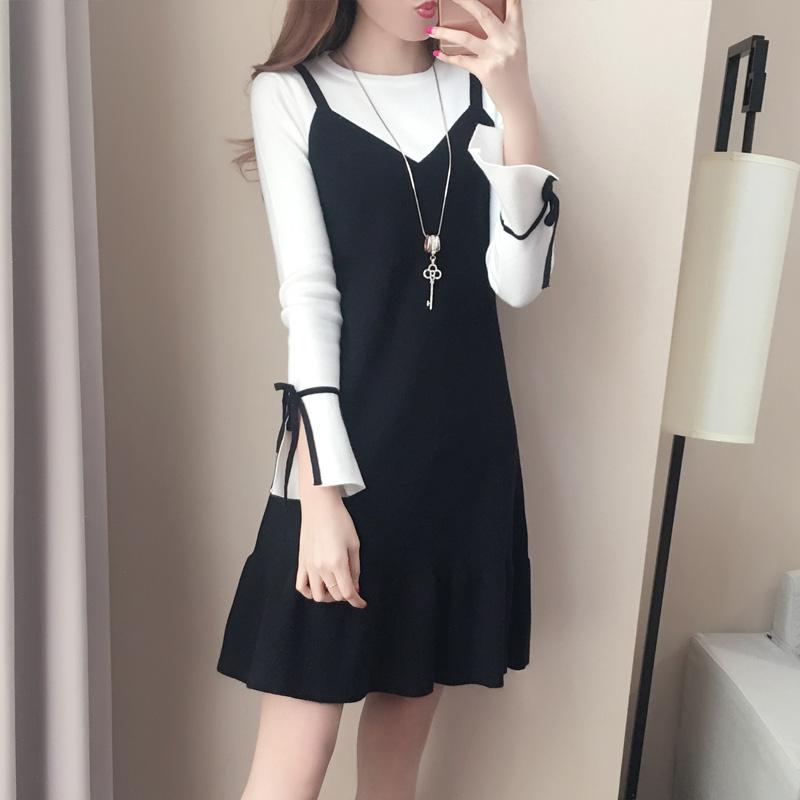 大量现货2018秋季新款韩版女装秋装潮修身显瘦时尚长袖连衣裙