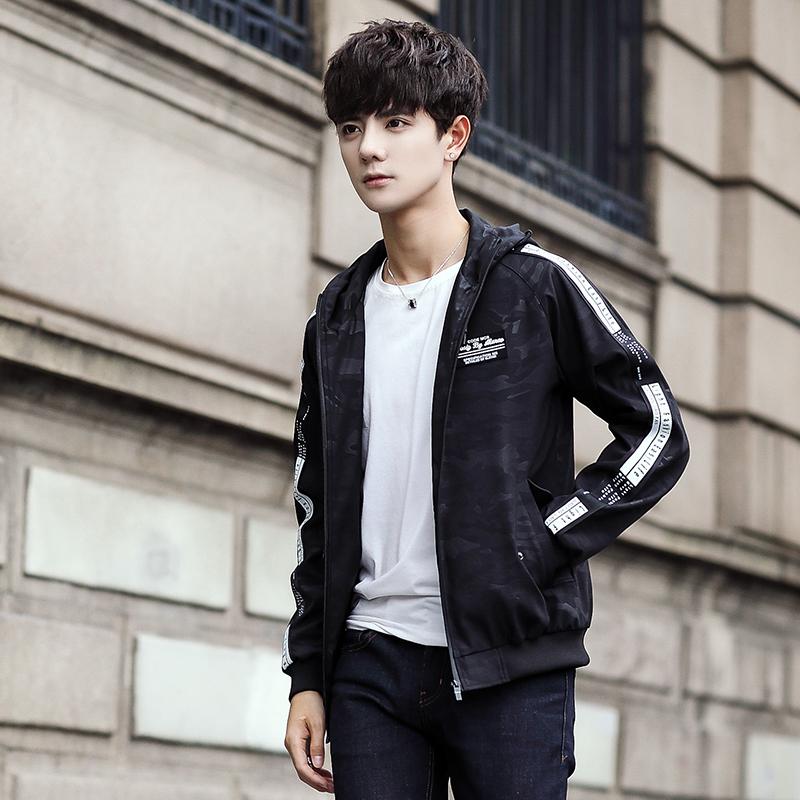 男士外套2018秋冬季新款夹克男韩版潮流修身连帽迷彩夹克男装