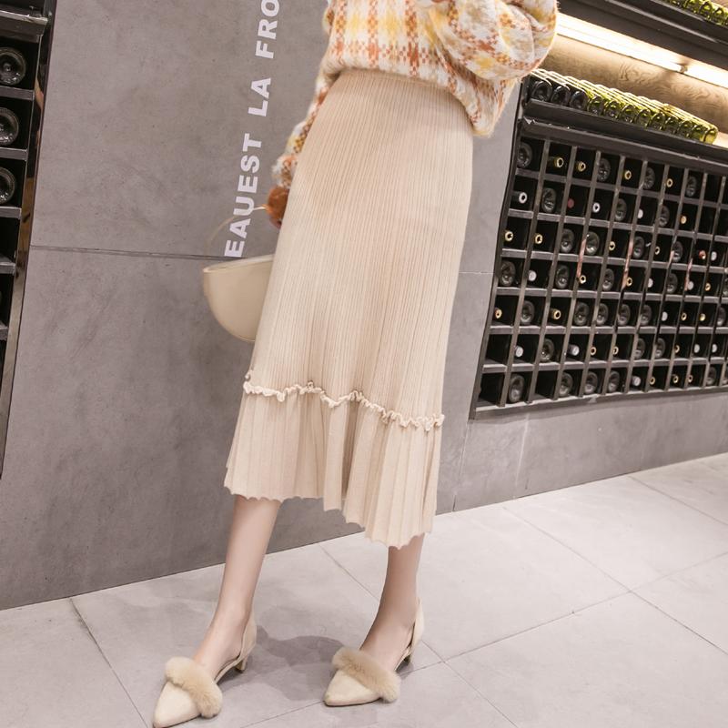针织半身裙女秋冬季2018新款韩版高腰百褶裙中长款A字裙加厚长款