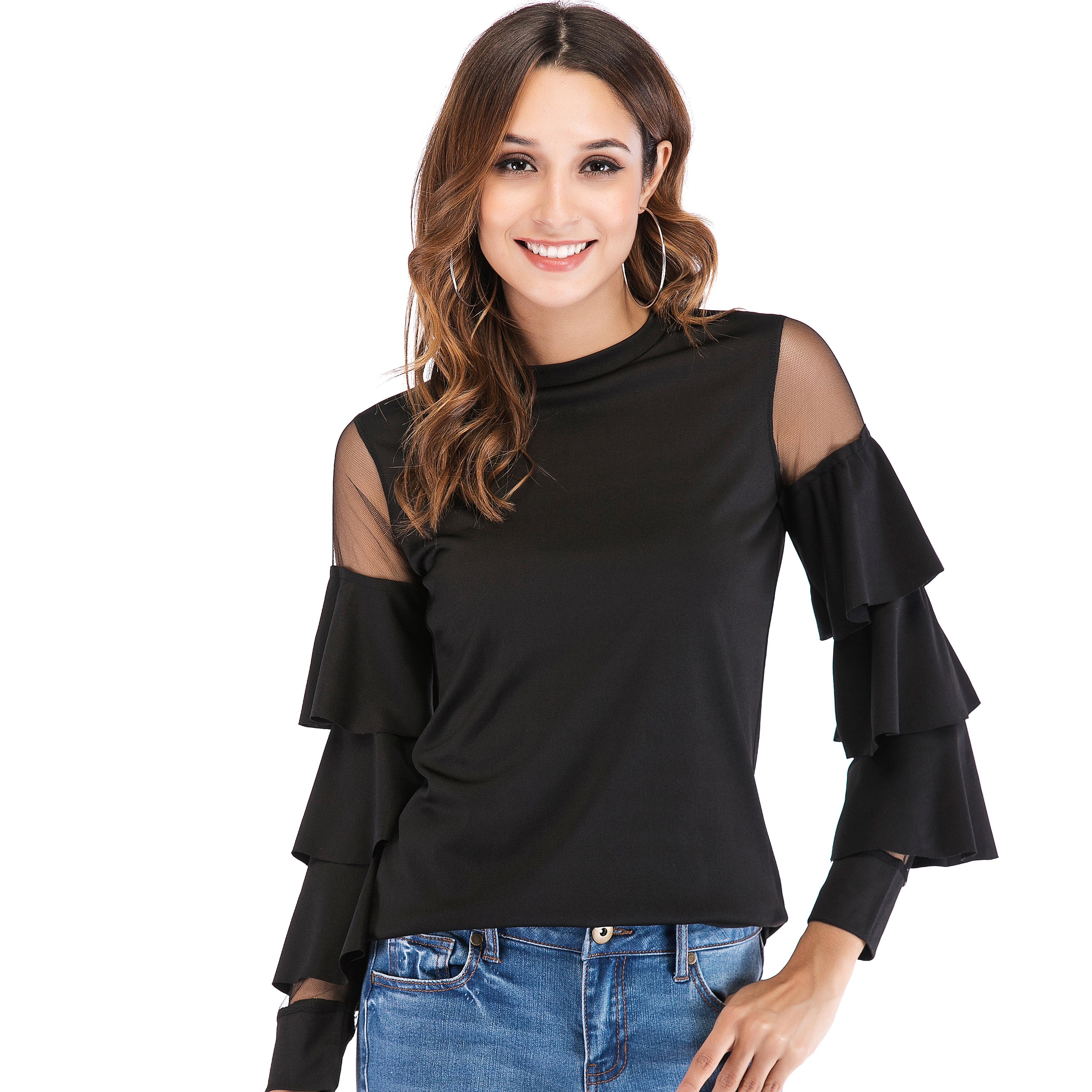 亚马逊eBay速卖通外贸欧美女装爆款小立领网纱拼接喇叭袖T恤上衣