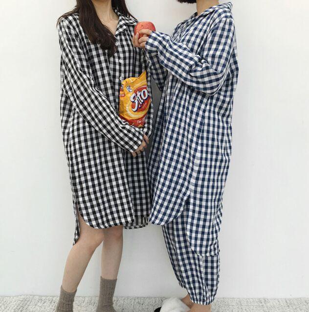 韓國秋季新品 俏皮可愛寬松兩穿格子長款睡衣家具服套裝