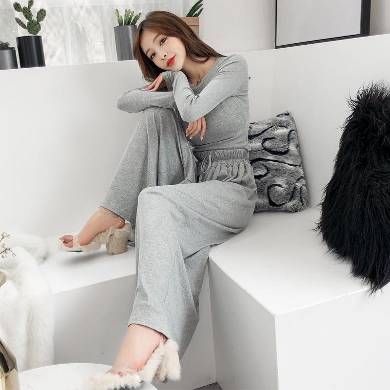 韩国ulzzang春季新款长袖高腰短款上衣+高腰系带阔腿长裤两件套