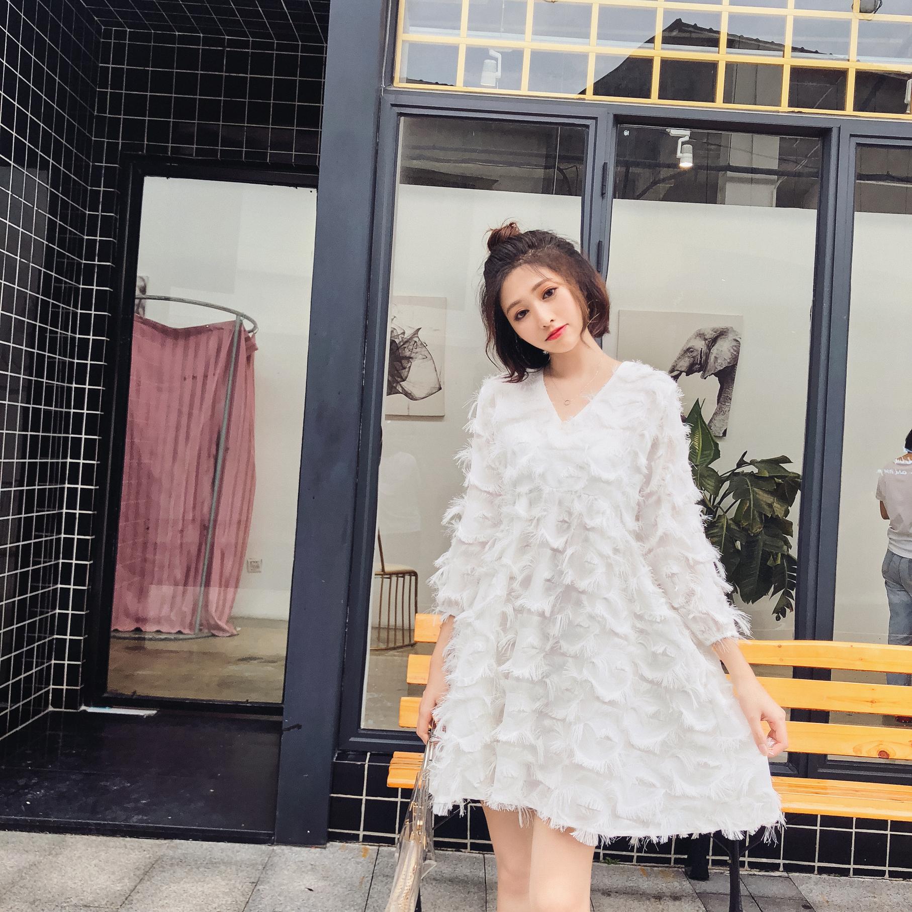 实拍2018新款女装流苏超仙V领雪纺蕾丝连衣裙宽松a字娃娃裙打底裙