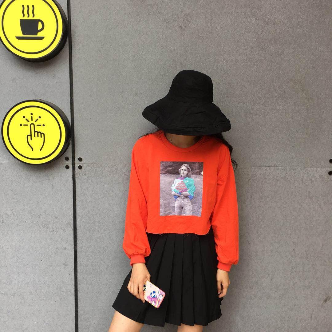 实拍实价~ 韩版印花长袖短款卫衣女秋冬宽松圆领套头百搭上衣