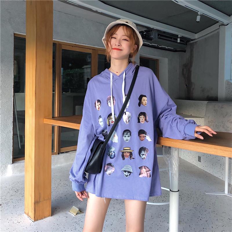 实拍秋装韩版时尚宽松连帽卡通人头图案印花薄款长袖T恤卫衣女