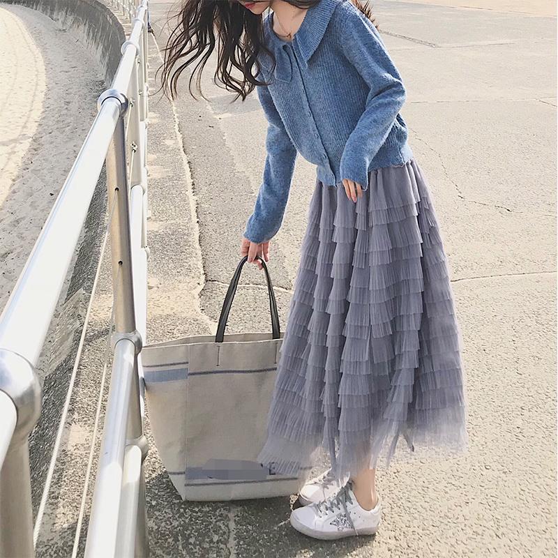 珊珊2018秋季新仙女温柔风气质半身裙 网纱设计感蛋糕高腰A字裙女