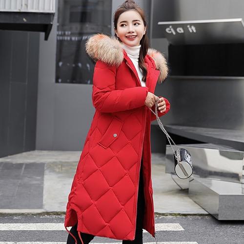 实拍2018新款秋冬羽绒服韩版中长款大码时尚大码修身棉服外套
