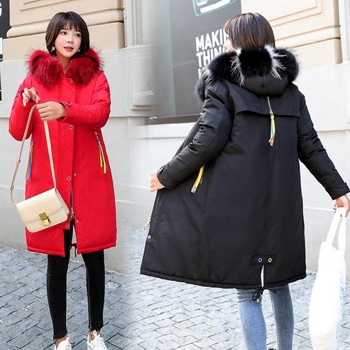 实拍韩国东大门18新款大牌羽绒服女中长款气质大毛领棉服ins外套