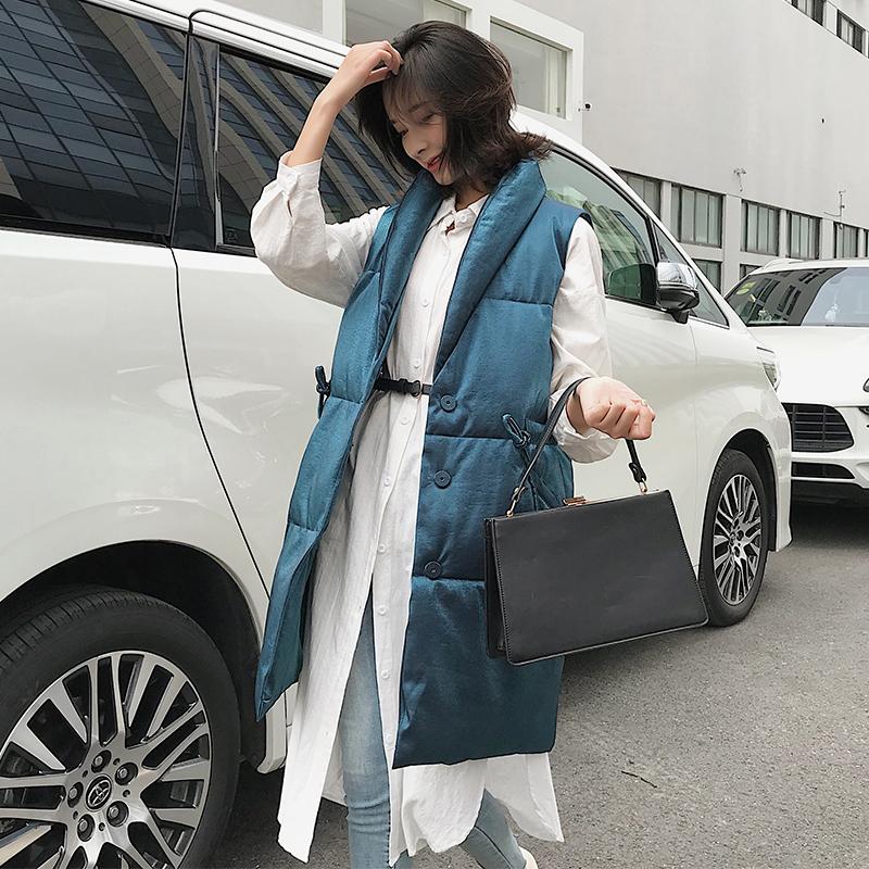 实拍新款韩版休闲宽松大码中长款羽绒服马甲女立领棉服马夹外套