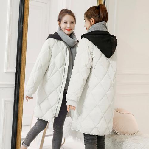 2018冬季实拍新款时尚连帽中长款加厚保暖羽绒棉服女外套