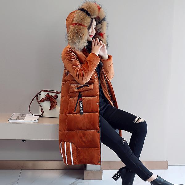 实拍2018冬季新款羽绒服女金丝绒大毛领中长款大码加厚棉服外套