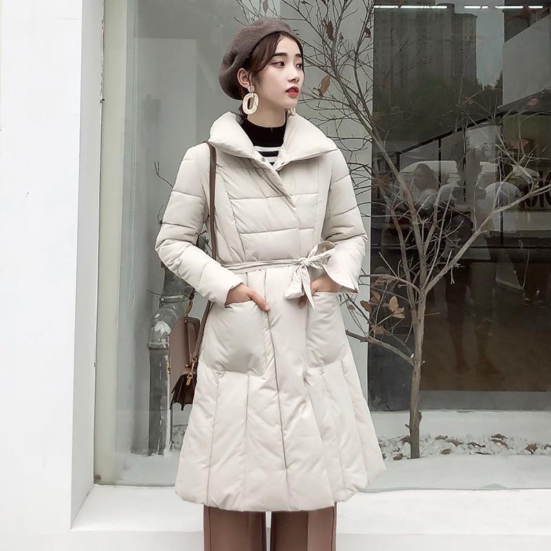 实拍2018韩版新款羽绒服女长款过膝修身加厚立领裙摆腰带棉服外套
