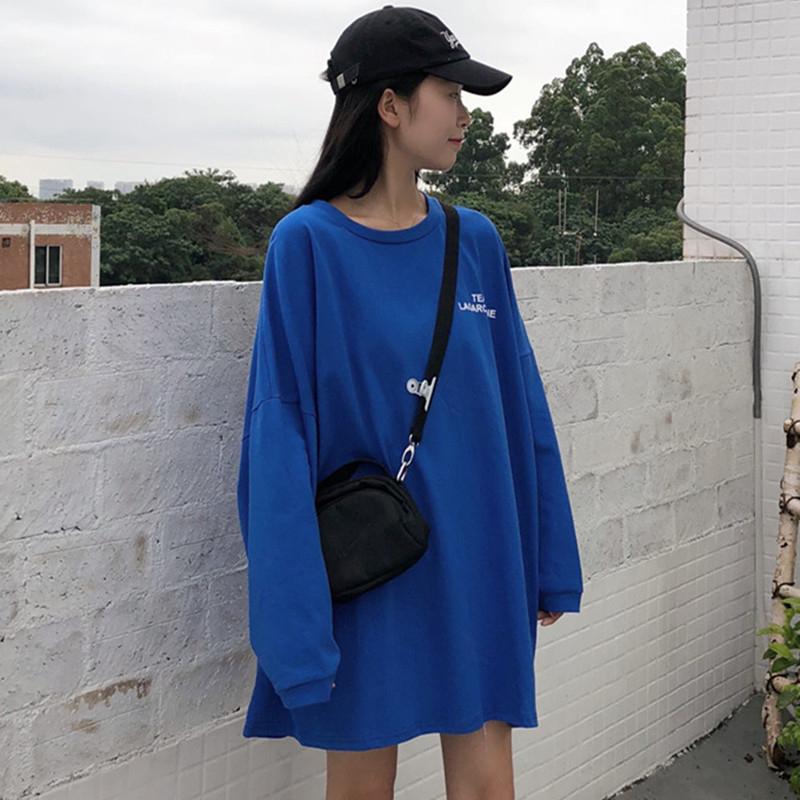 官网秋装韩版时尚圆领字母宽松中长款学生长袖T恤卫衣女