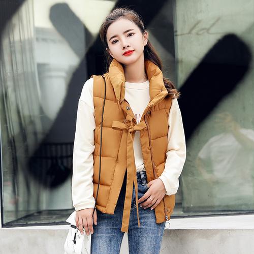 实拍2018新款棉服女韩版时尚学生马甲棉衣原宿风无袖背心上衣外套