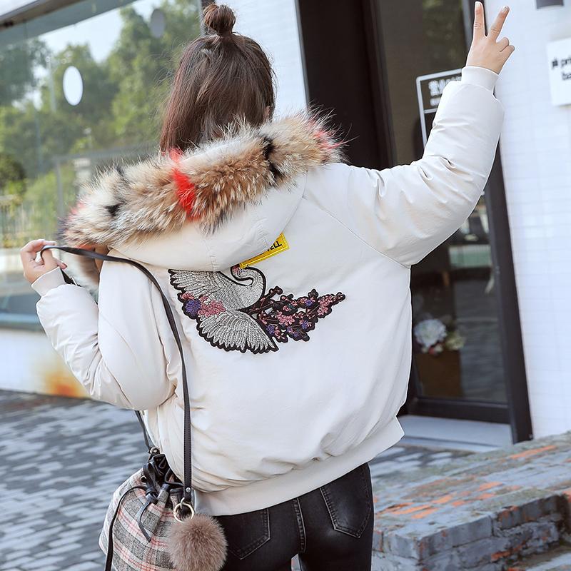 实拍2018新款羽绒服女韩版大码显瘦刺绣棉衣面包服外套短款夹克