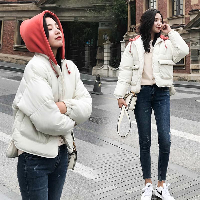 实拍2018冬季网红学生短款面包服chic女学院风加厚宽松ins棉服