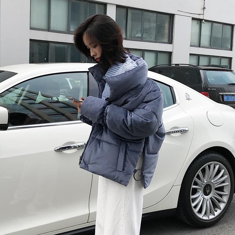 实拍2018韩版新款休闲宽松大码羽绒服女短款面包服棉衣外套潮