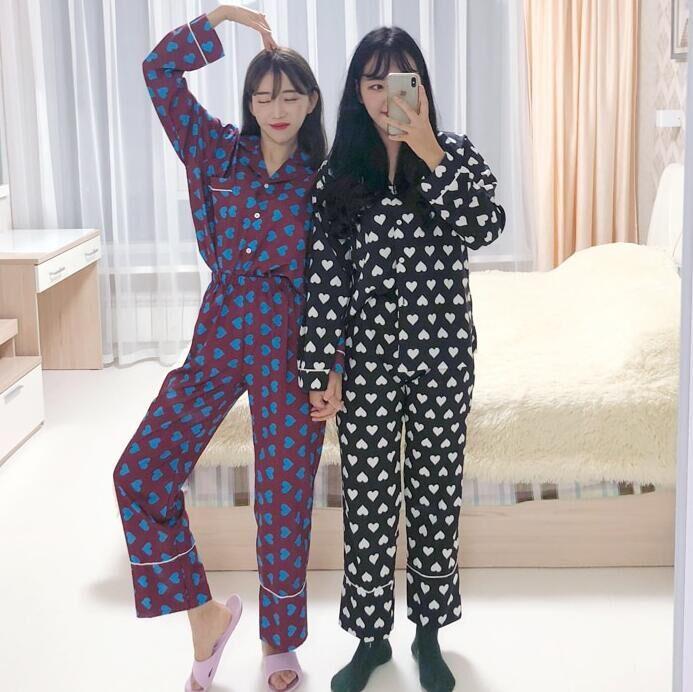 2色~韓國秋冬款 ins大熱可愛心心印花長袖+長褲睡衣套裝