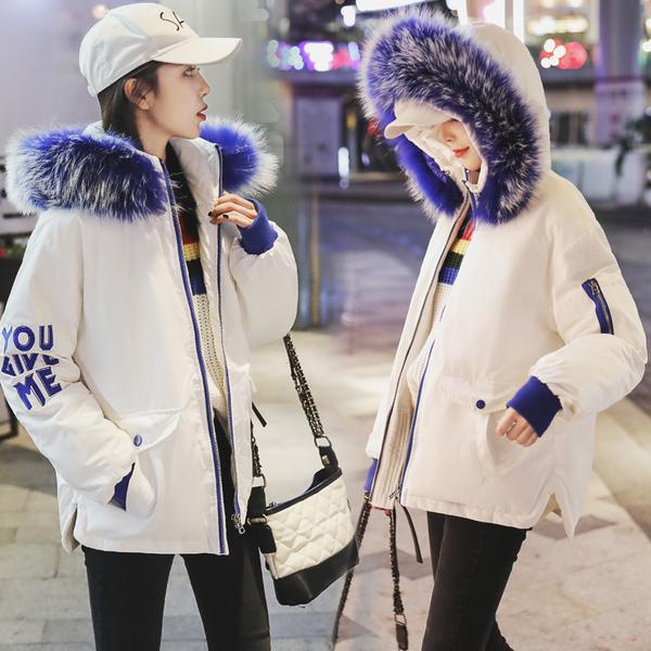 实拍2018冬季新款大毛领短款羽绒服女面包服派克宽松学生外套