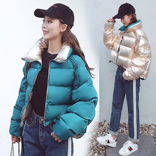 实拍2018冬季新款羽绒服亮面明星同款双面穿宽松棉服外套女