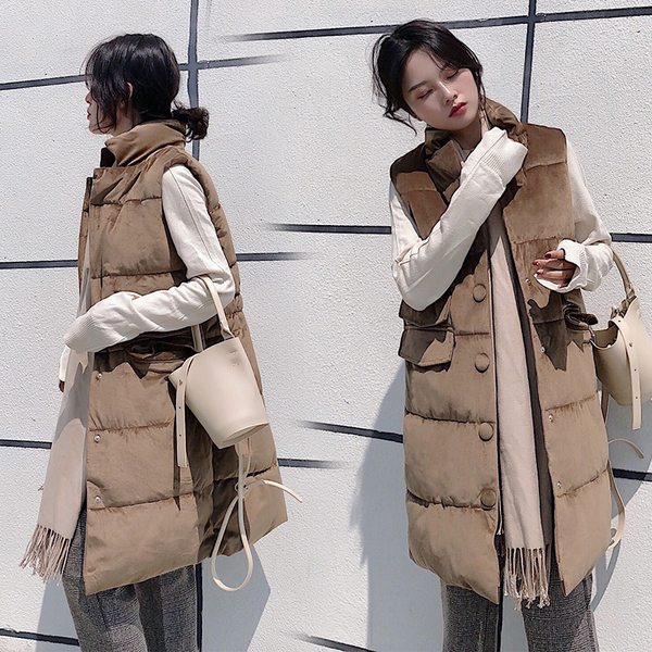 实拍2018新款韩版休闲宽松大码中长款羽绒服马甲女立领棉服外套