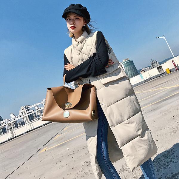 实拍2018新款韩版休闲宽松大码长款过膝羽绒服马甲女立领棉服外套